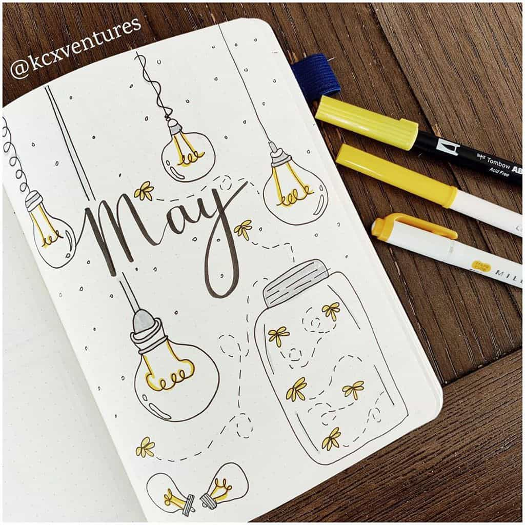 Firefly Bullet Journal Theme Inspirations - cover page by @ohkaysay | Masha Plans