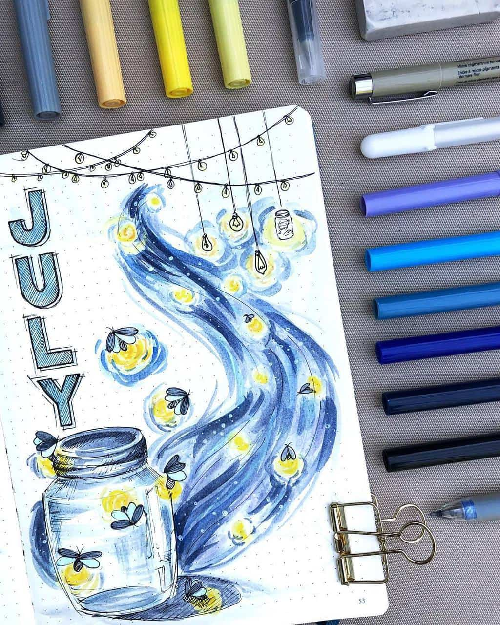 Fireflies Bullet Journal theme Inspirations - cover page by @paperflight.v | Masha Plans