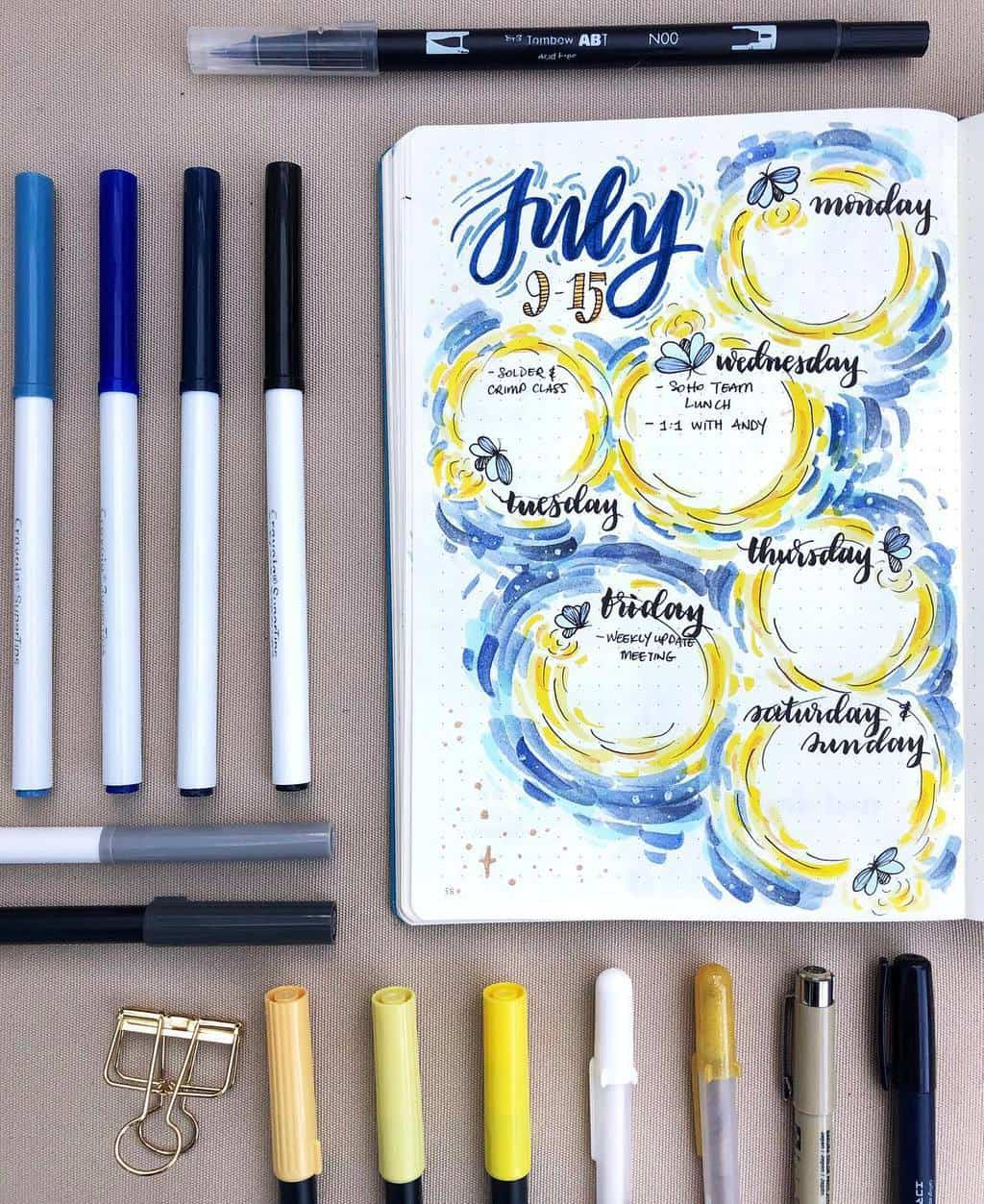 Firefly Bullet Journal Theme Inspirations - weekly log by @paperflight.v | Masha Plans