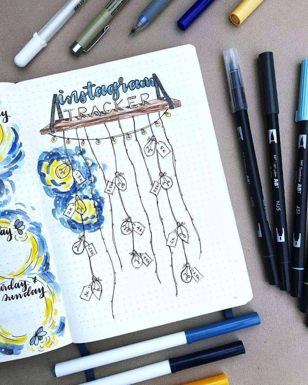Fireflies Bullet Journal Theme Inspirations - tracker by @paperflight.v | Masha Plans