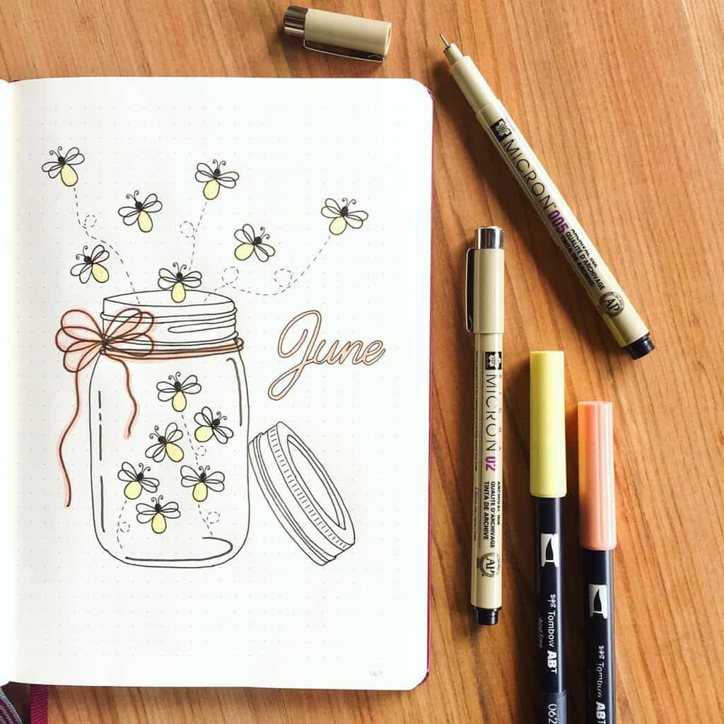 Fireflies Bullet Journal Theme inspirations - cover page by @paws.and.paper | Masha Plans