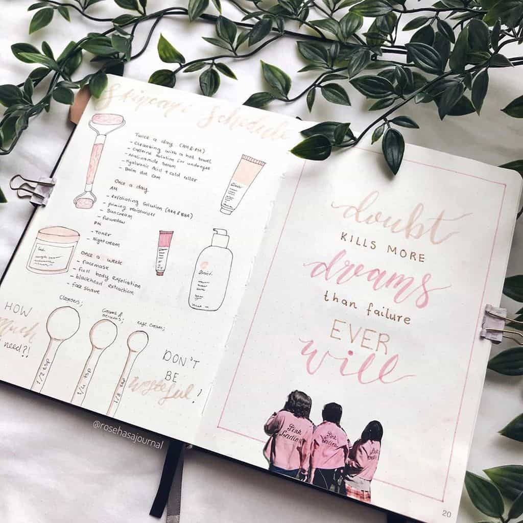 Skin Care Routine Spread by @rosehasajournal | Masha Plans