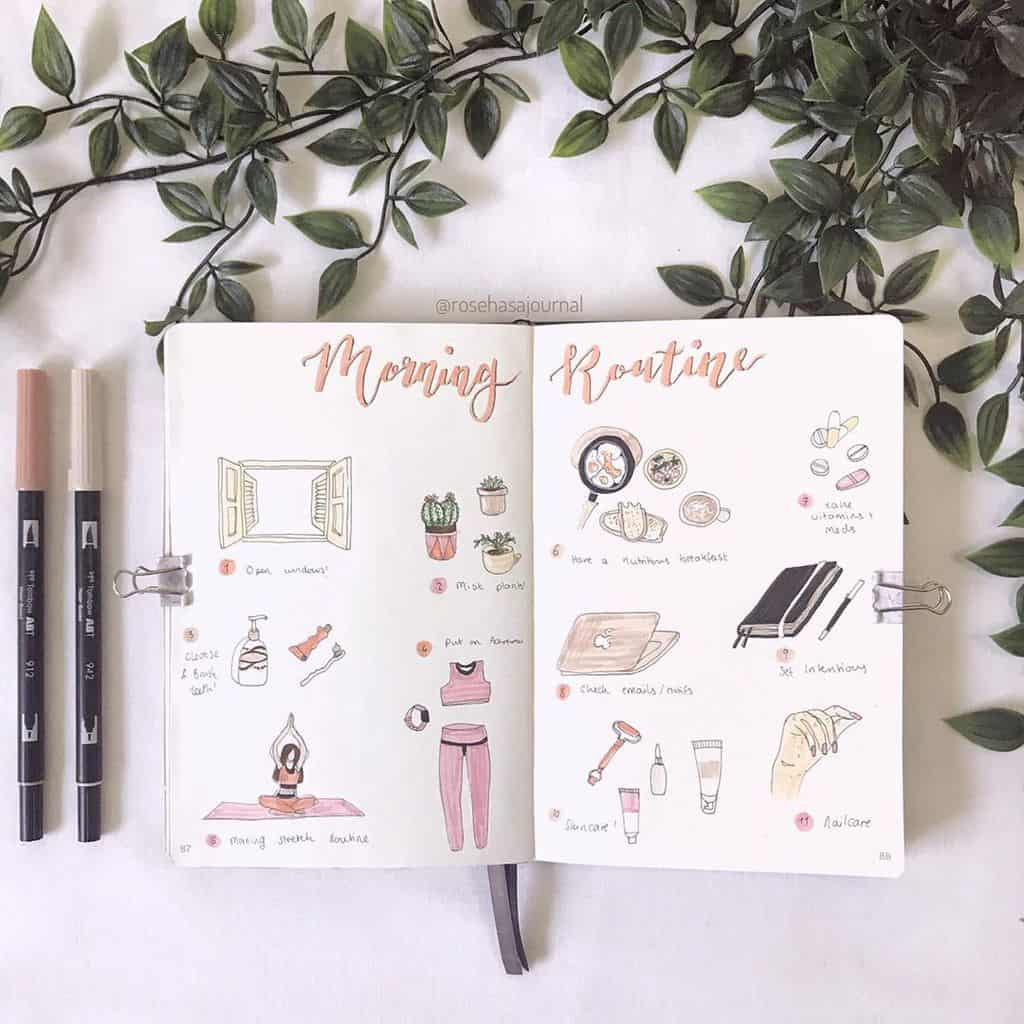 Morning Routine Spread by @rosehasajournal | Masha Plans