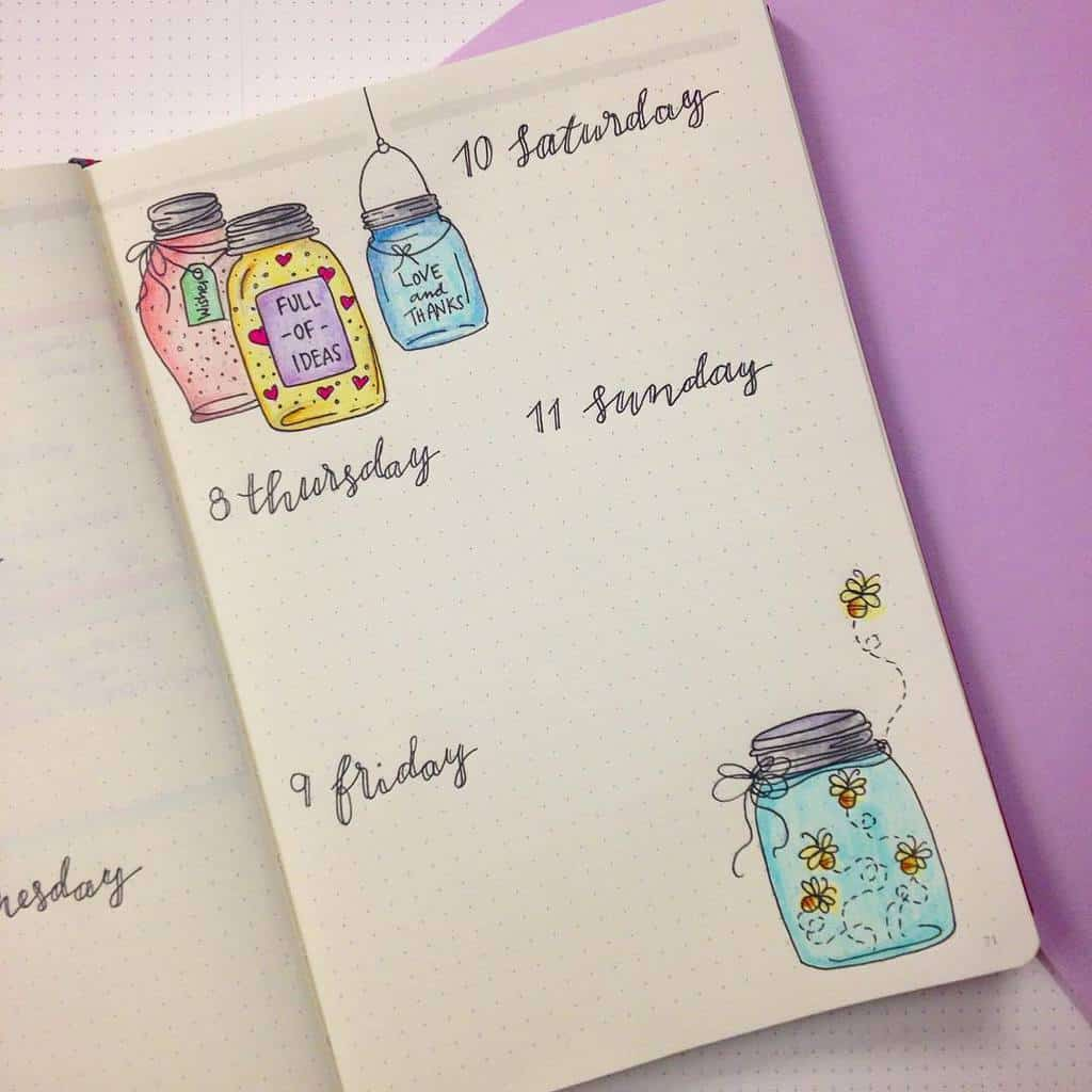 Fireflies Bullet Journal Theme Inspirations - weekly log by @squarelimedesigns | Masha Plans