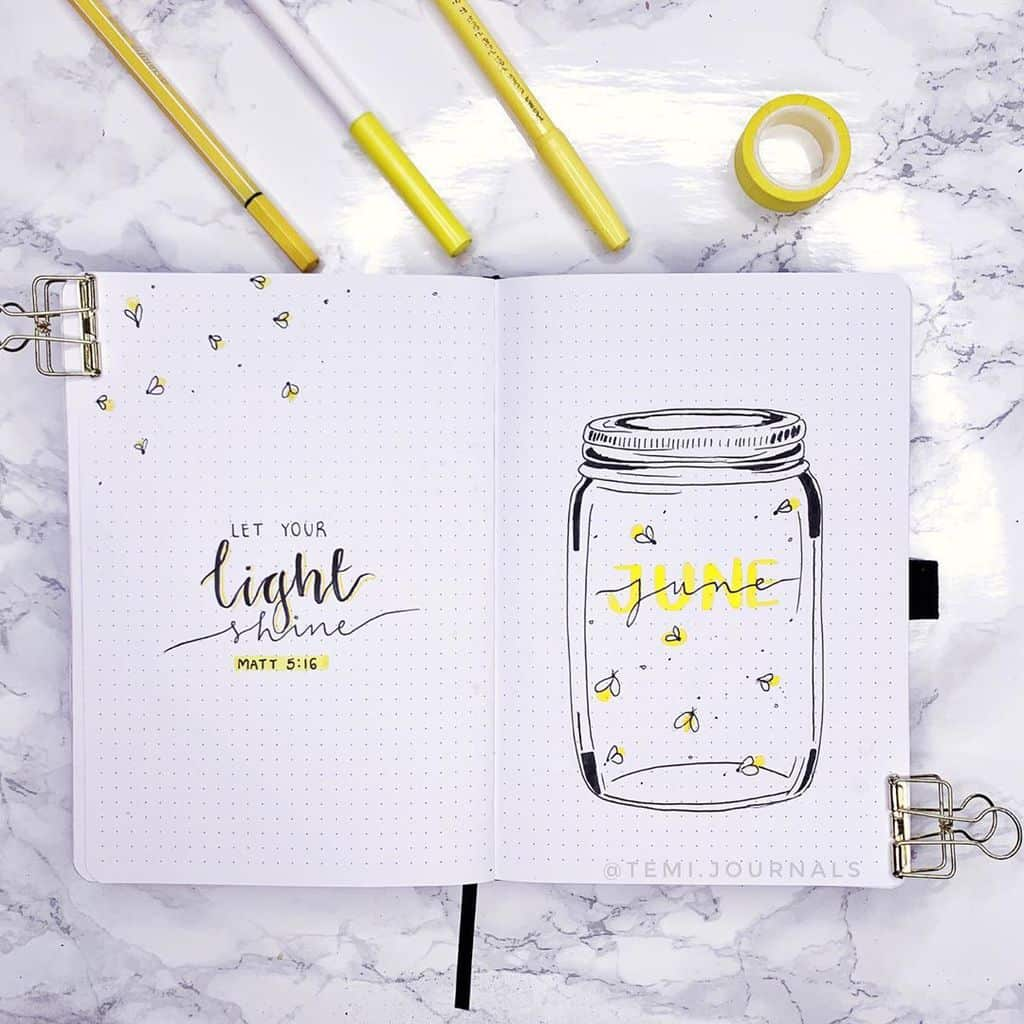 Fireflies Bullet Journal Theme Inspirations - cover page by @temi.journals | Masha Plans