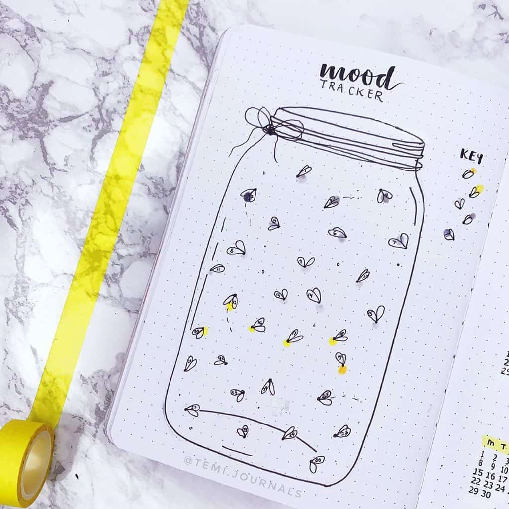 Fireflies Bullet Journal Theme Inspirations - tracker by @temi.journals | Masha Plans