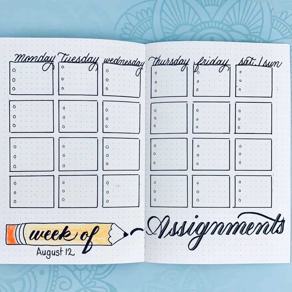 Homeschool Bullet Journal Page Ideas - assignment spread by @missybriggs | Masha Plans