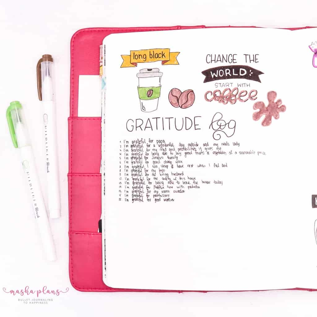 November Gratitude Log In My Bullet Journal | Masha Plans