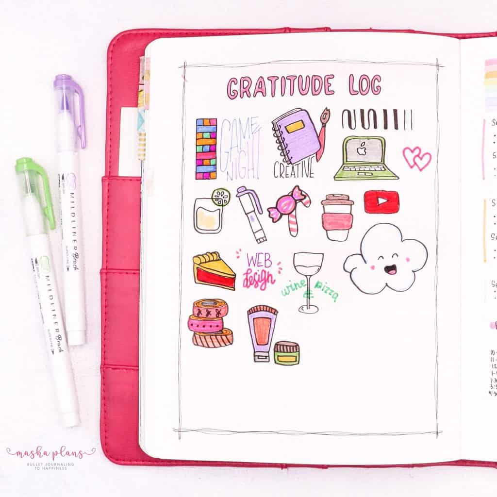 February Gratitude Log In My Bullet Journal | Masha Plans