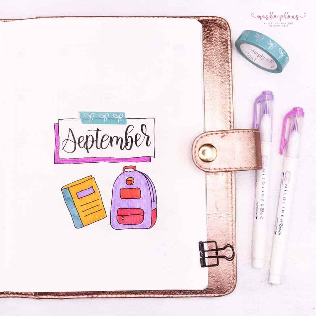 September Bullet Journal Setup In My Blogging Journal - cover page   Masha Plans