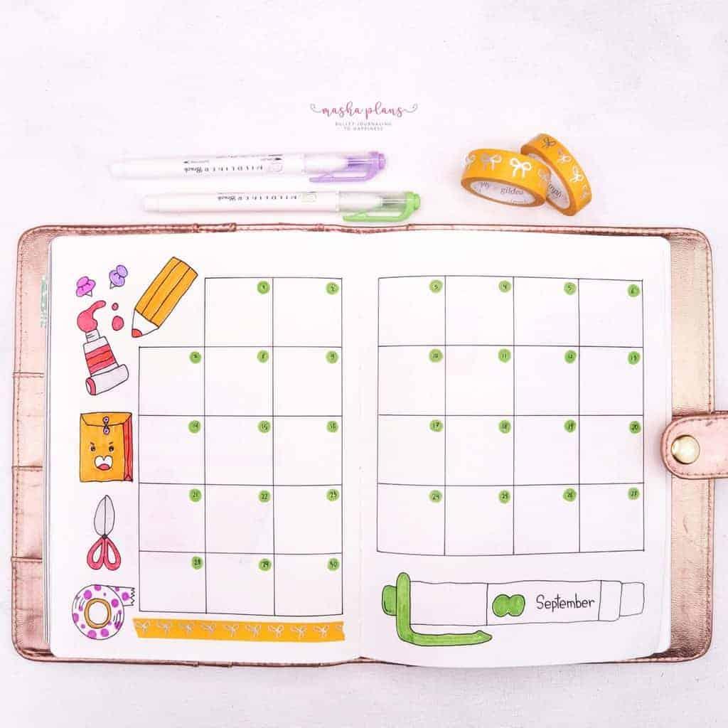 September Bullet Journal Setup In My Blogging Journal - monthly log   Masha Plans