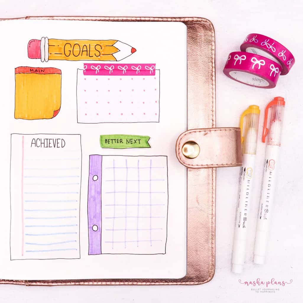 September Bullet Journal Setup In My Blogging Journal - monthly goals   Masha Plans