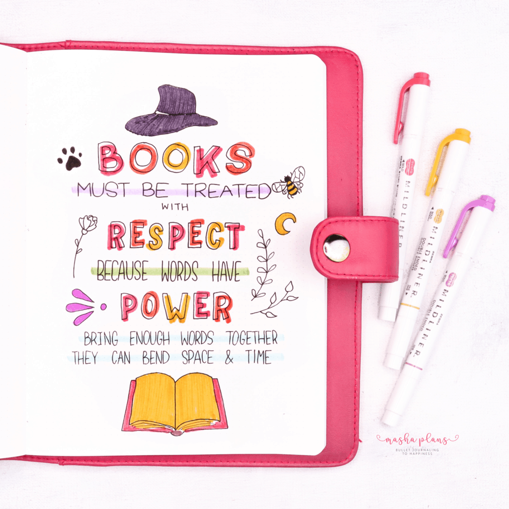 Book Bullet Journal Theme Ideas And Inspirations - quote page | Masha Plans