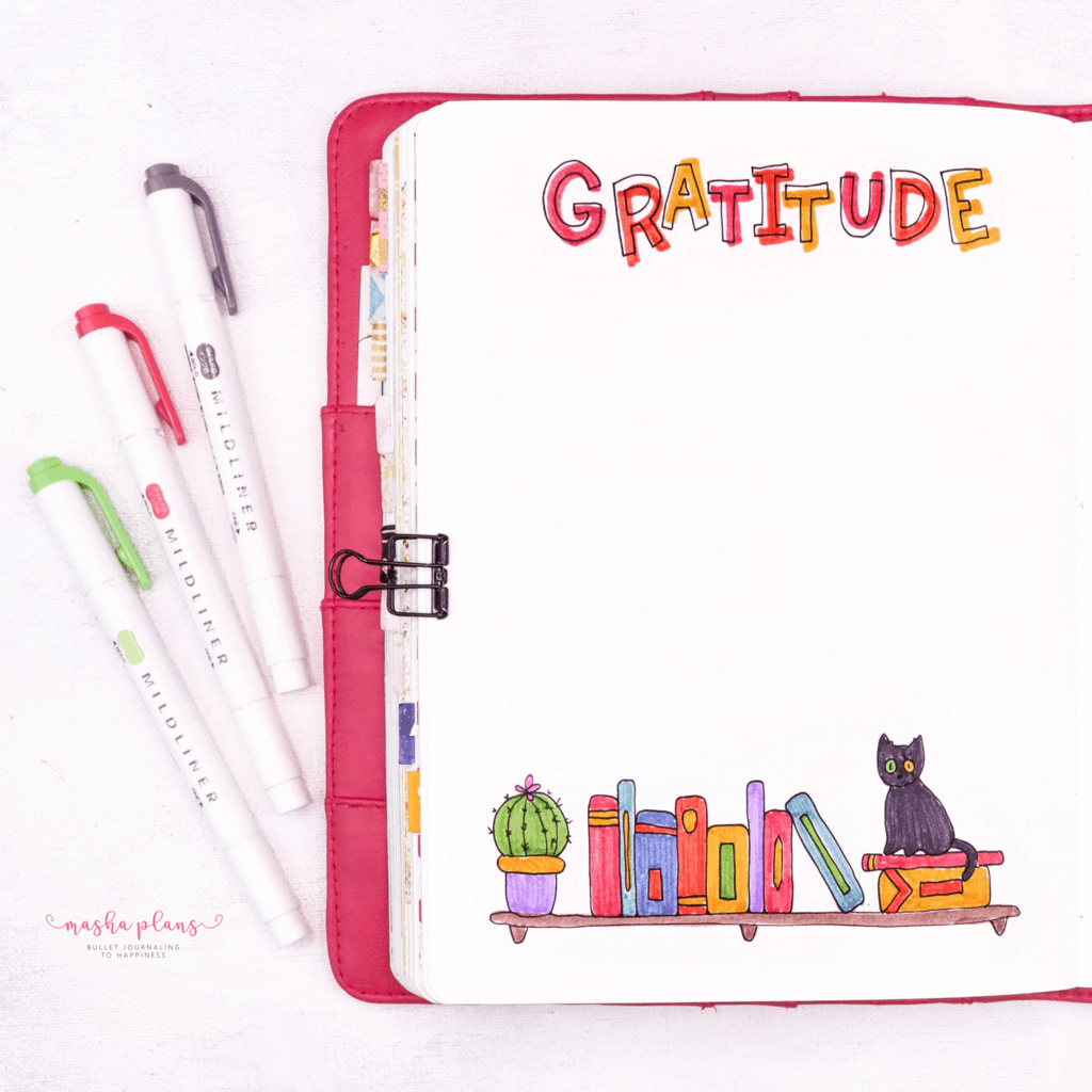 Book Bullet Journal Theme Ideas And Inspirations - gratitude log | Masha Plans