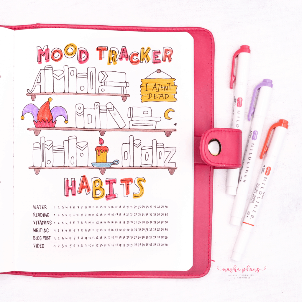 Book Bullet Journal Theme Ideas And Inspirations - mood tracker, habit tracker | Masha Plans