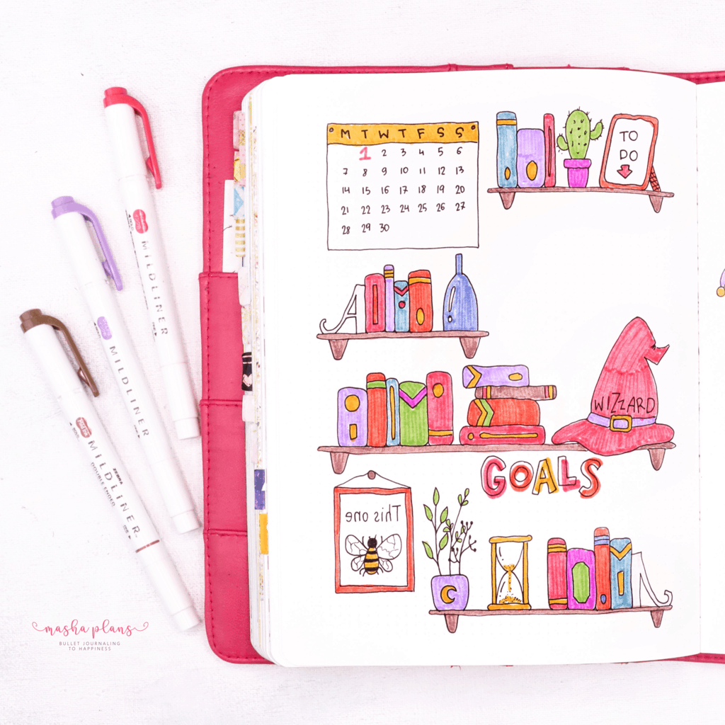 Book Bullet Journal Theme Ideas And Inspirations - monthly log | Masha Plans