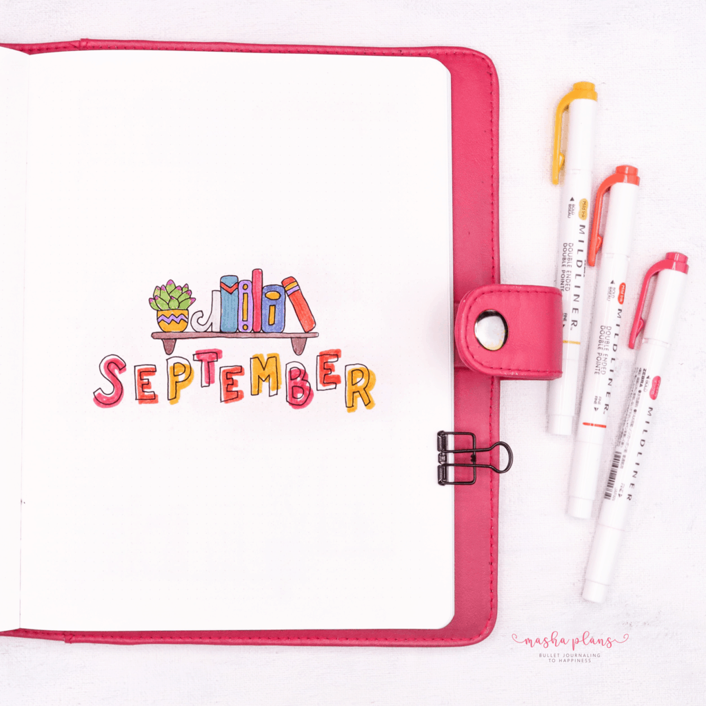 Book Bullet Journal Theme Ideas And Inspirations - cover page | Masha Plans