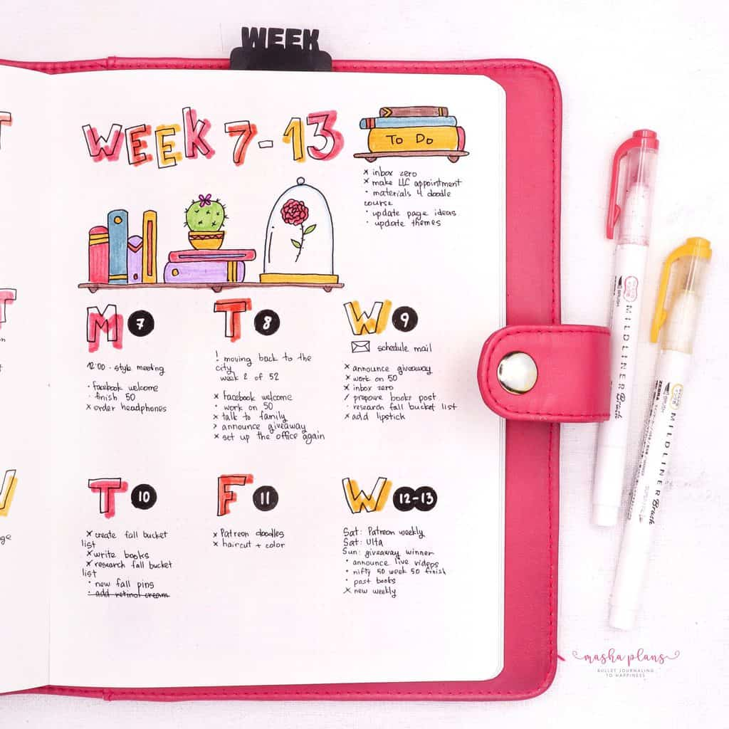 39 Brilliant Book Bullet Journal Theme Ideas And Inspirations - weekly log | Masha Plans