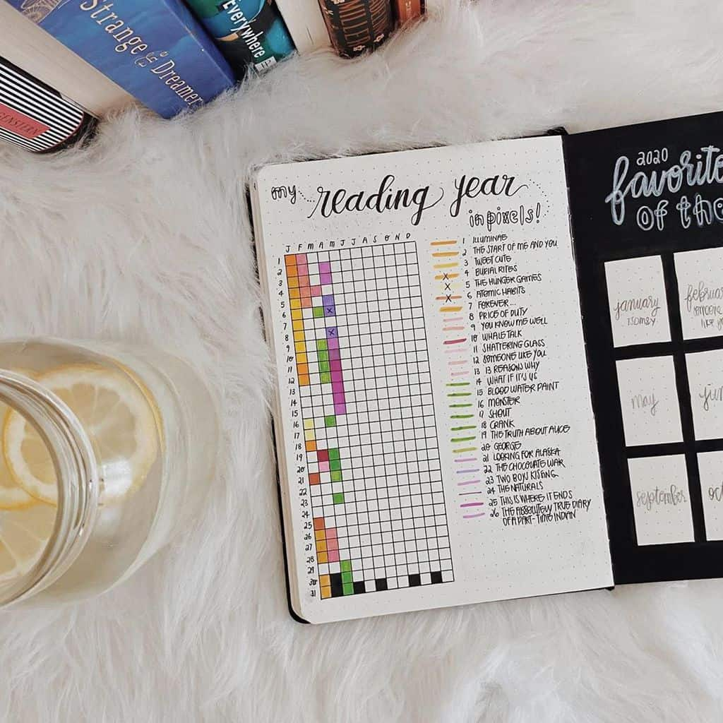 Book Bullet Journal Theme Ideas And Inspirations - book tracker by @amarisafloria | Masha Plans