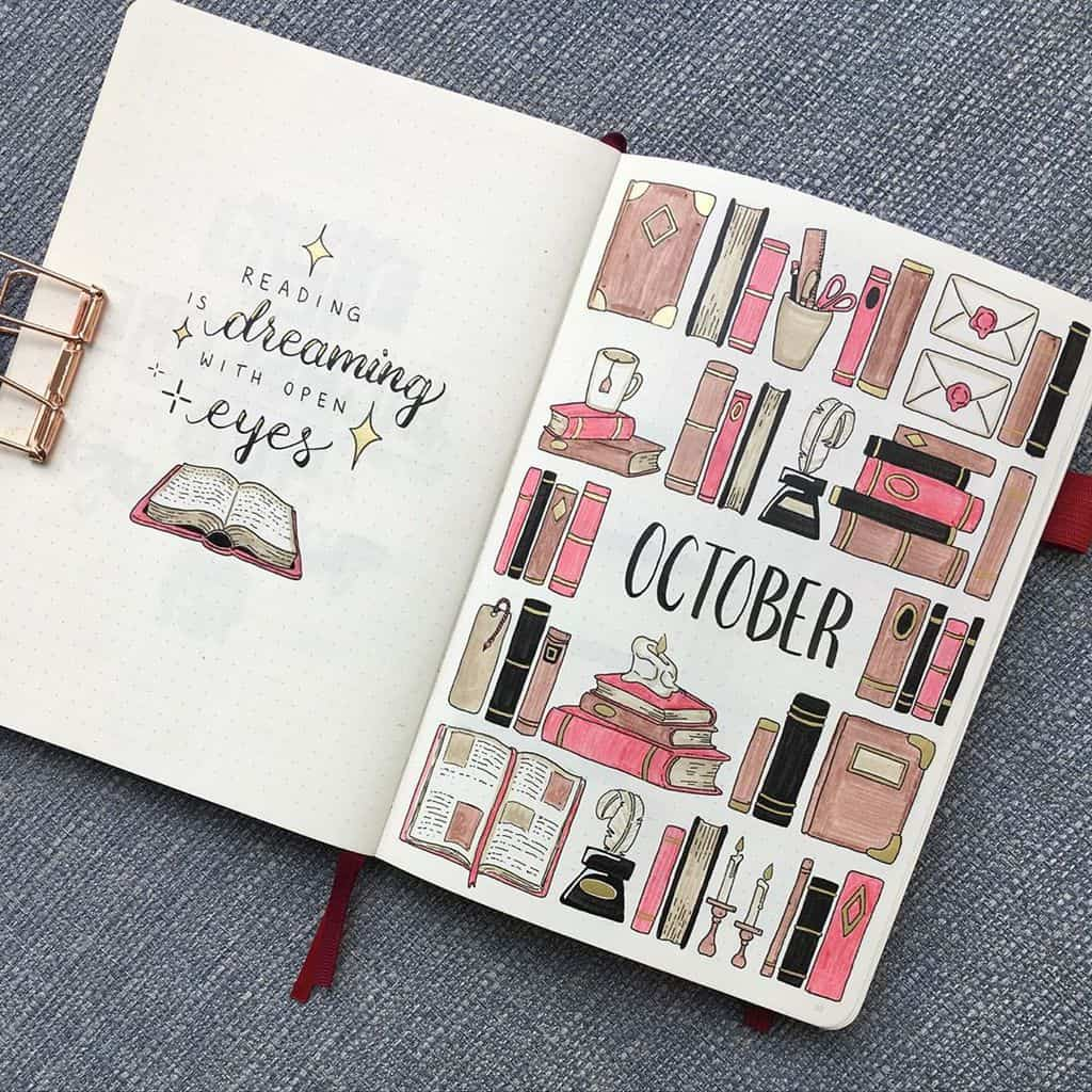 Book Bullet Journal Theme Ideas And Inspirations - cover page by @art_n_foxes | Masha Plans