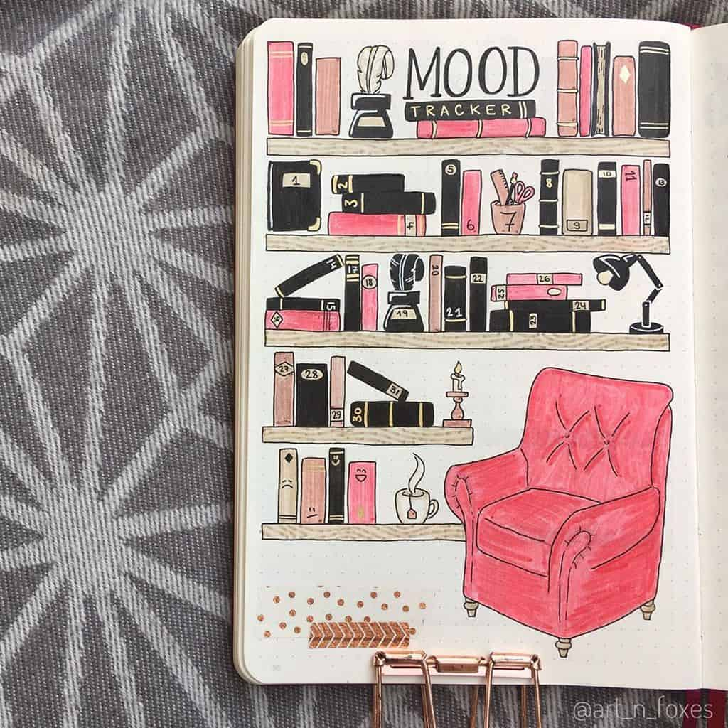 Book Bullet Journal Theme Ideas And Inspirations - mood tracker by @art_n_foxes | Masha Plans