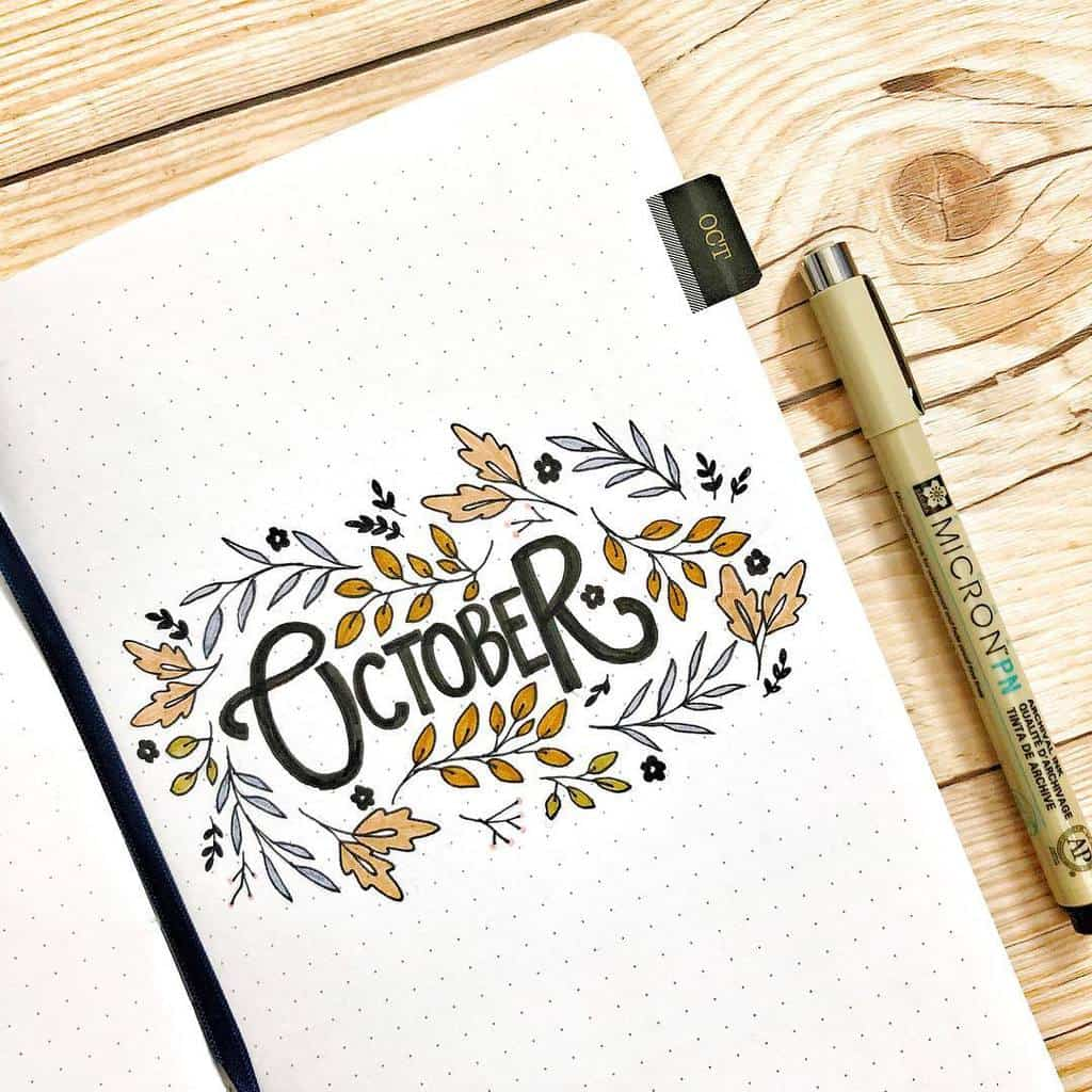 Fall Bullet Journal Theme Inspirations - cover page by @artsybec | Masha Plans