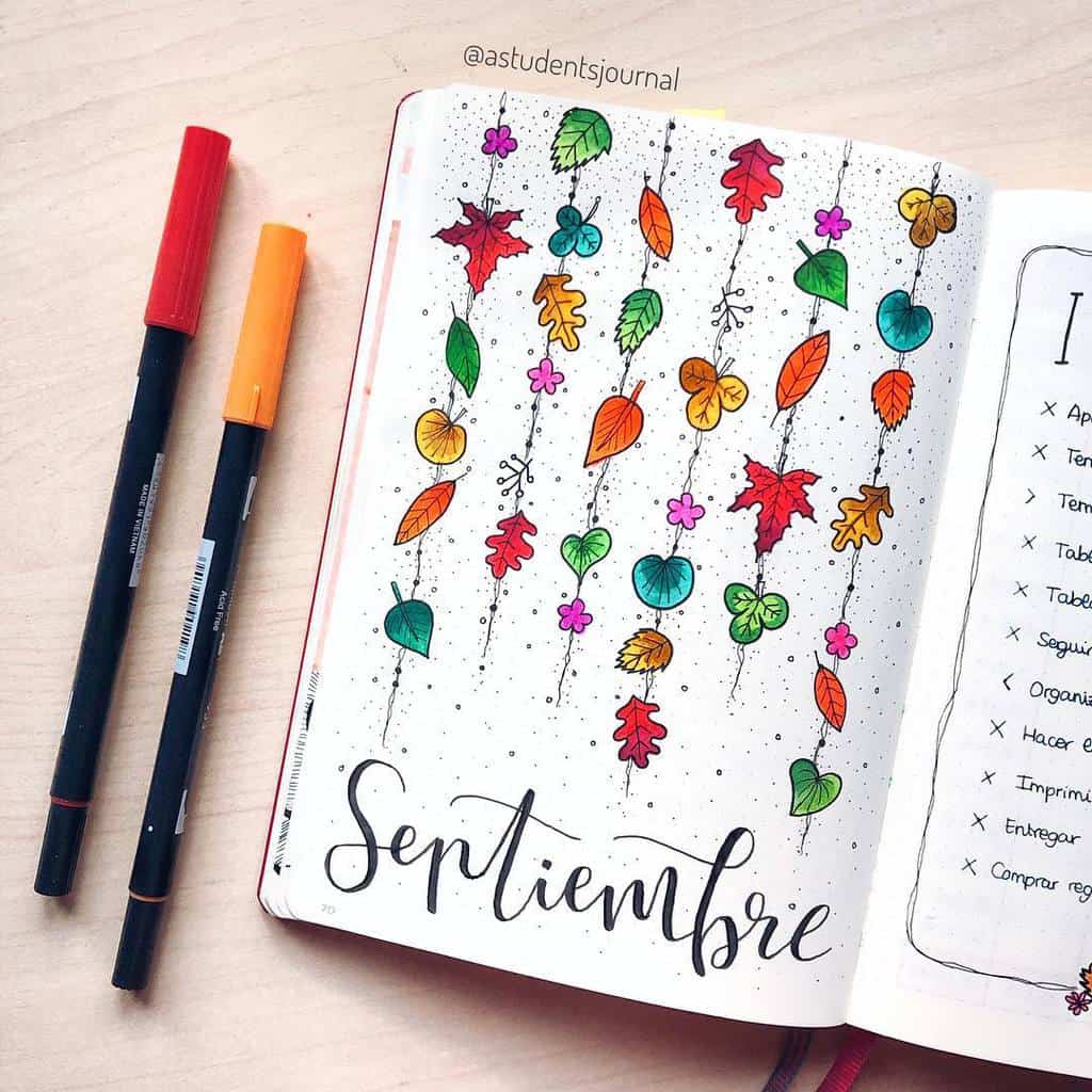 Fall Bullet Journal Theme Inspirations - cover page by @astudentsjournal | Masha Plans