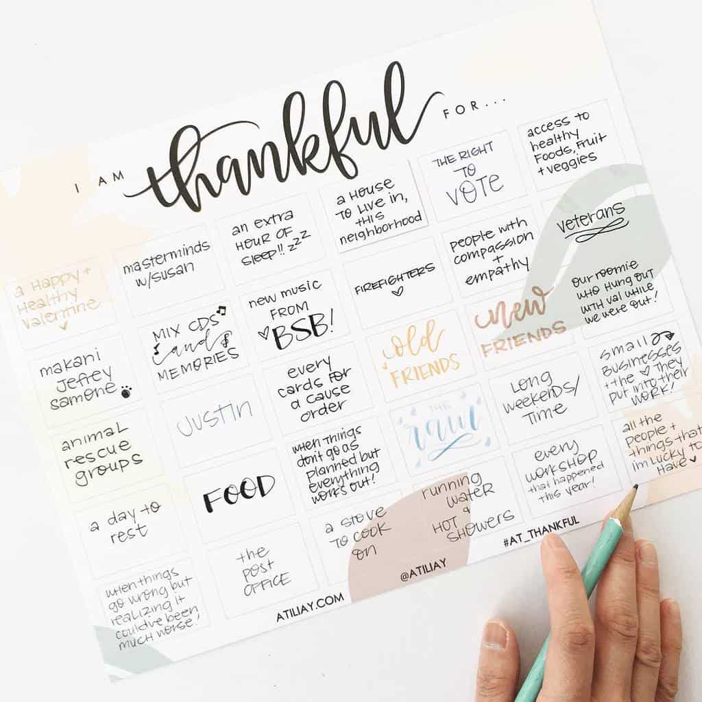 Bullet Journal Gratitude Log by @atiliay | Masha Plans