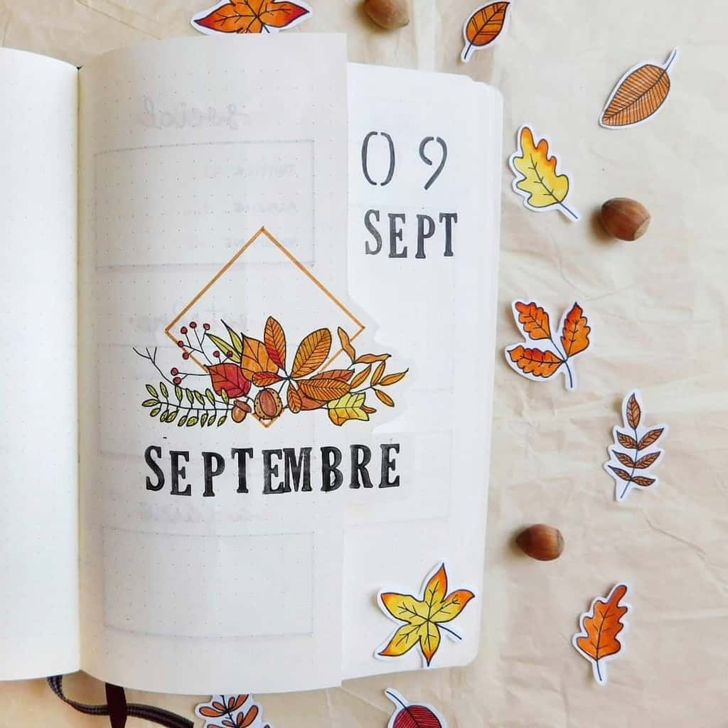 Fall Bullet Journal Theme Inspirations - cover page by @azaleine | Masha Plans