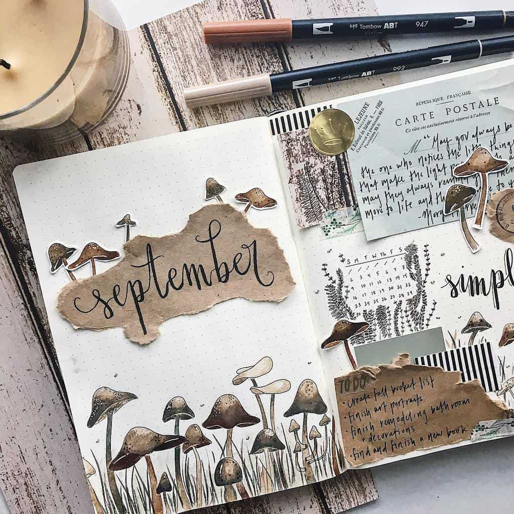Fall Bullet Journal Theme Inspirations - cover page by @bluemoonjournals | Masha Plans