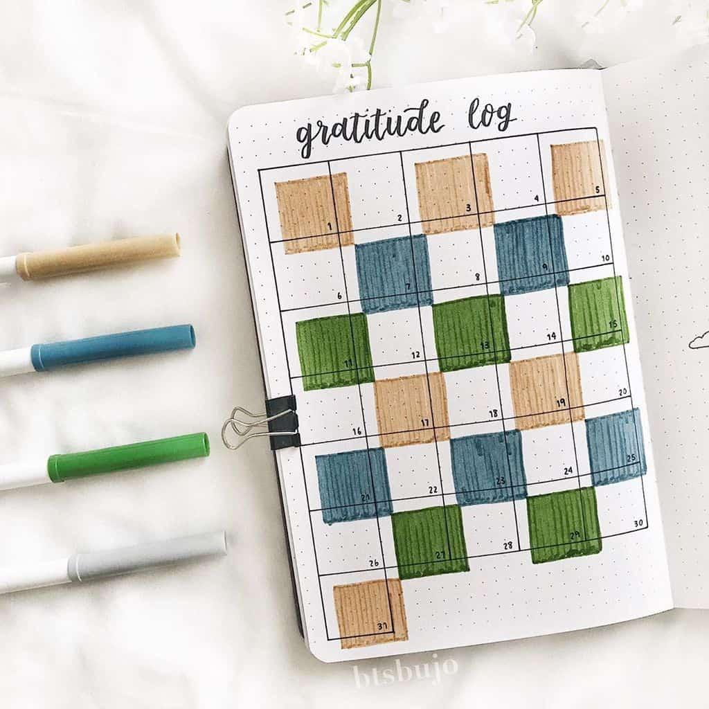 Bullet Journal Gratitude Log by @btsbujo | Masha Plans