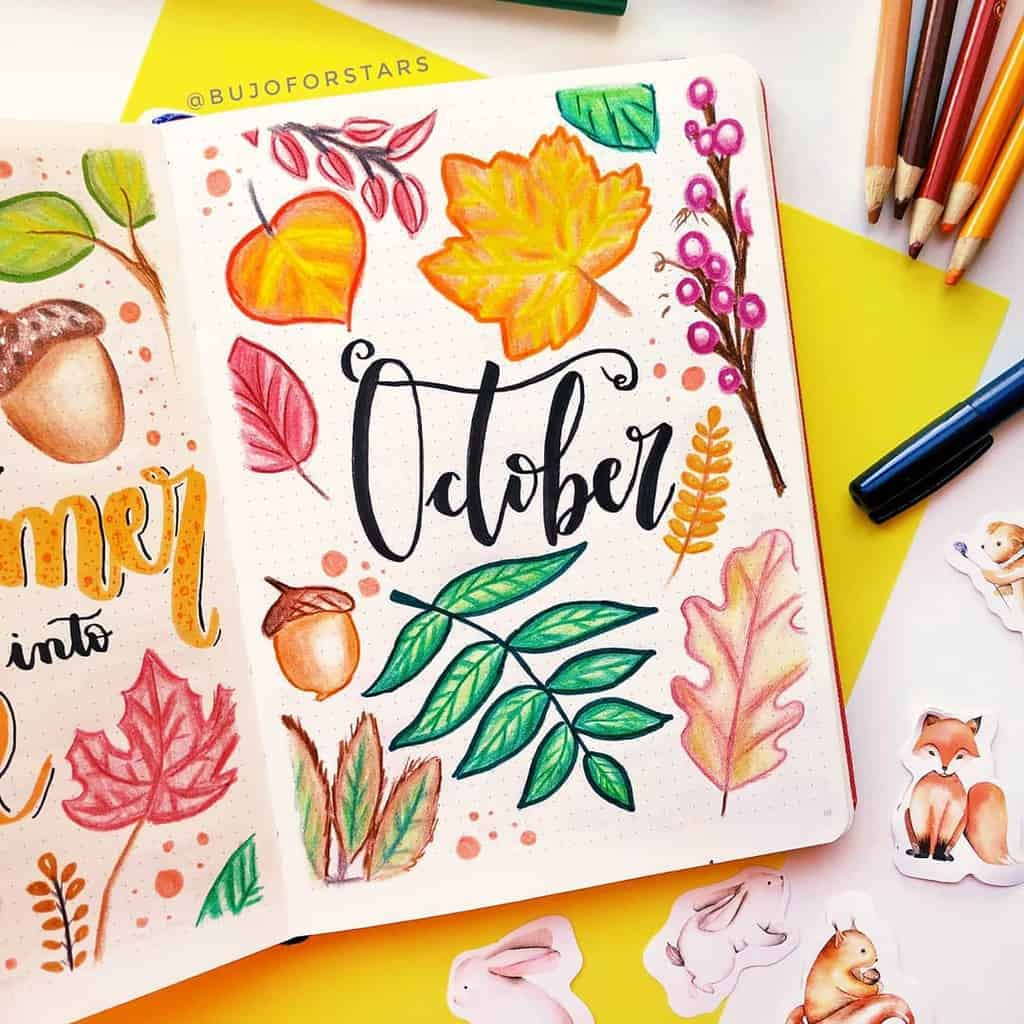 Fall Bullet Journal Theme Inspirations - cover page by @bujoforstars | Masha Plans