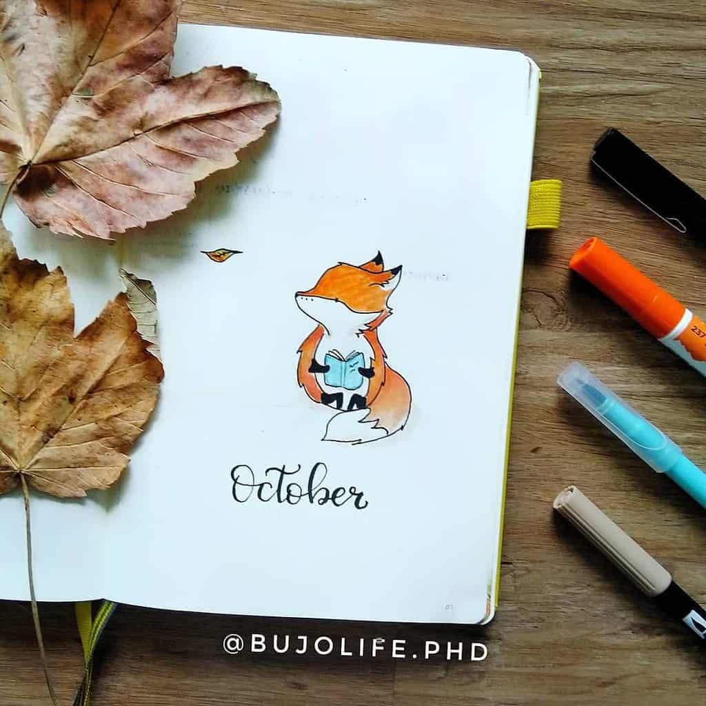 Fall Bullet Journal Theme Inspirations - cover page by @bujolife.phd | Masha Plans