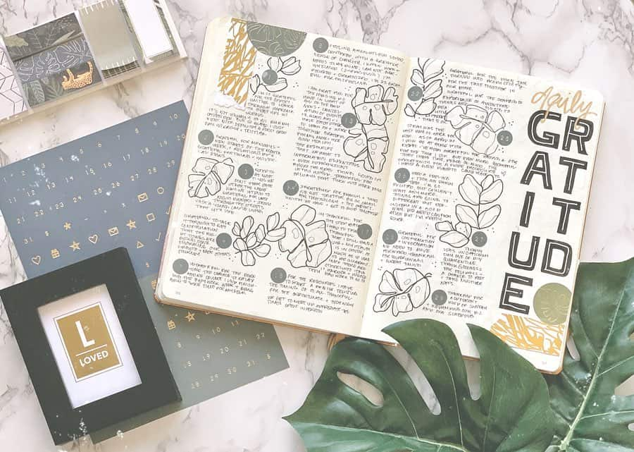 Bullet Journal Gratitude Log by @bujoxcoffee | Masha Plans