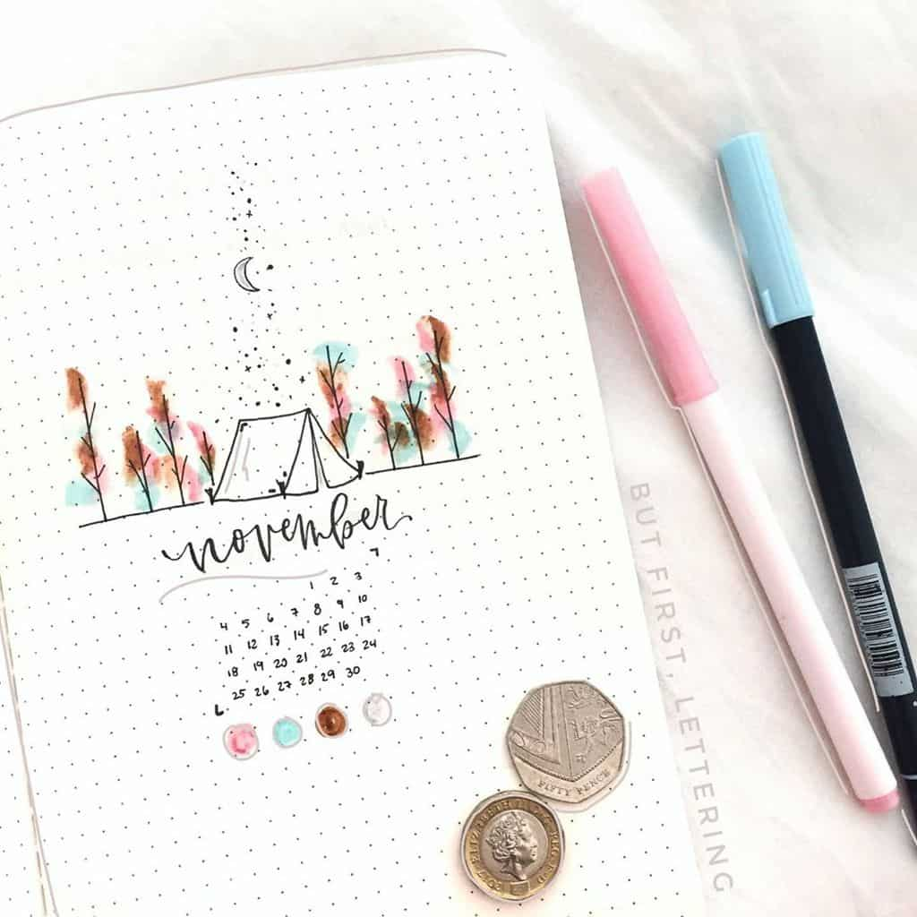 Fall Bullet Journal Theme Inspirations - cover page by @butfirstlettering | Masha Plans