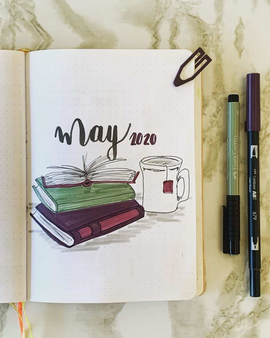 Book Bullet Journal Theme Ideas And Inspirations - cover page by @chronically_creative_ | Masha Plans