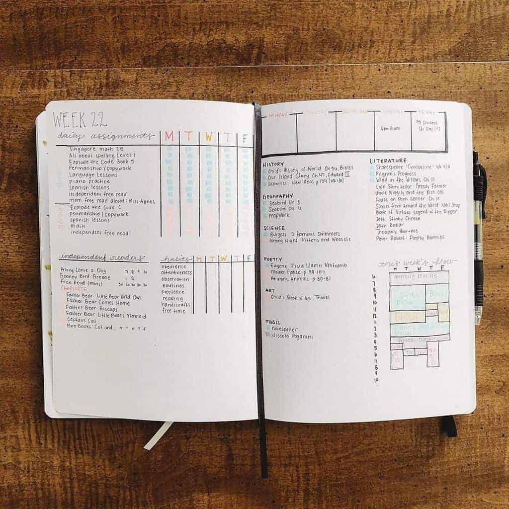 Homeschool Bullet Journal Page Ideas - weekly log by @creekviewelitehomeschool | Masha Plans