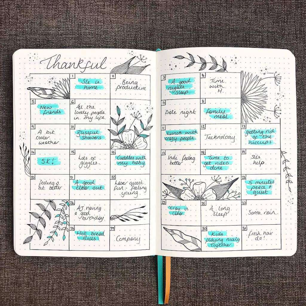 Bullet Journal Gratitude Log by @emmatildesleyart | Masha Plans