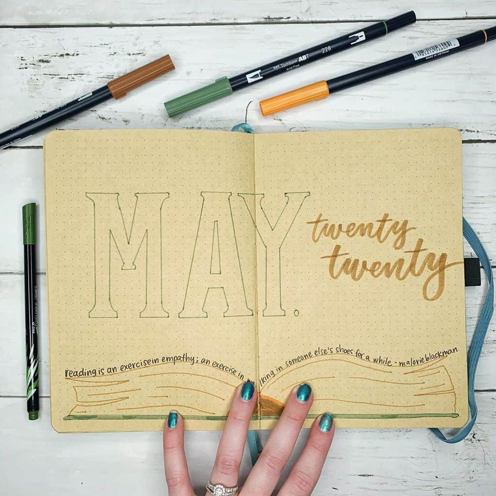 Book Bullet Journal Theme Ideas And Inspirations - cover page by @erinflotodesigns | Masha Plans