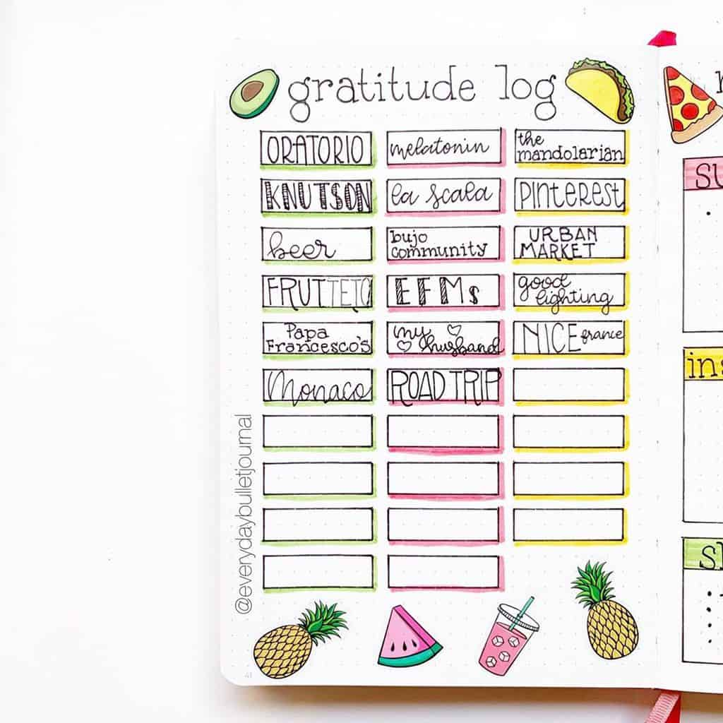 Bullet Journal Gratitude Log by @everydaybulletjournal | Masha Plans