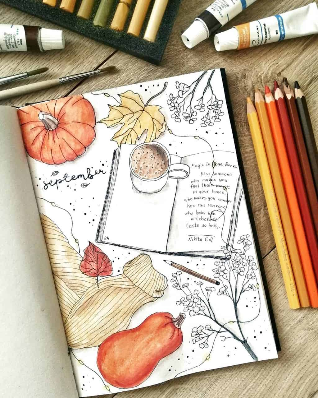 Fall Bullet Journal Theme Inspirations - cover page by @ginger.bullet.journal | Masha Plans