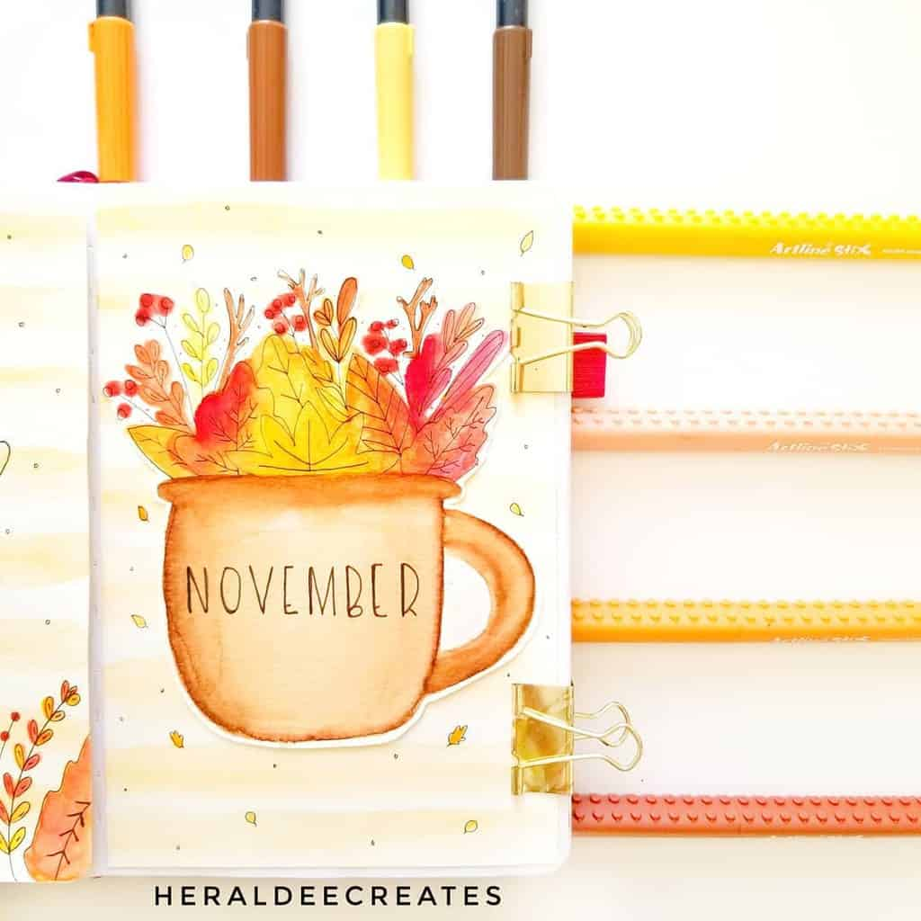 Fall Bullet Journal Theme Inspirations - cover page by @heraldeecreates | Masha Plans