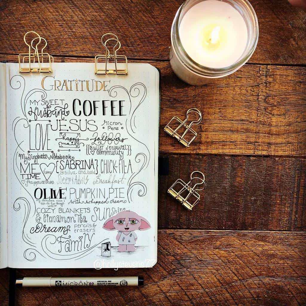 Bullet Journal Gratitude Log by @hollystevens77 | Masha Plans