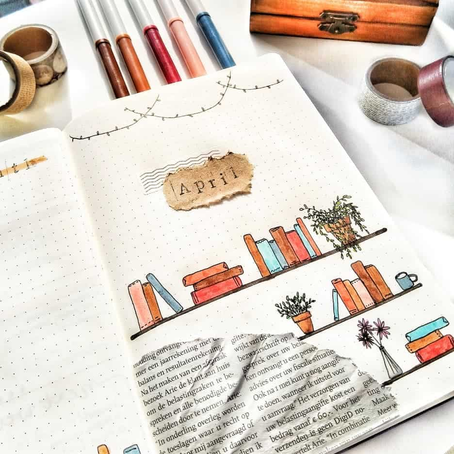 Book Bullet Journal Theme Ideas And Inspirations - cover page by @_iguessitsart_ | Masha Plans