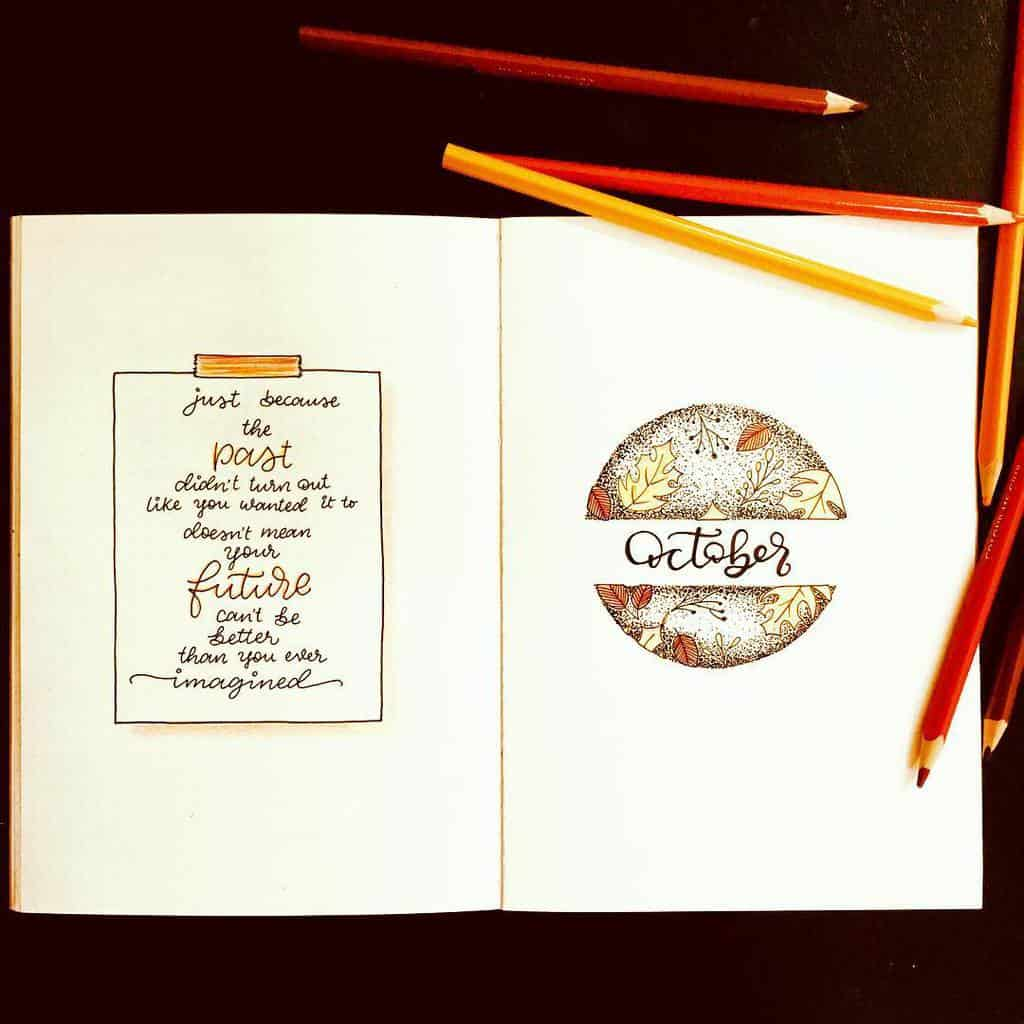 Fall Bullet Journal Theme Inspirations - cover page by @inkblot_diwita | Masha Plans