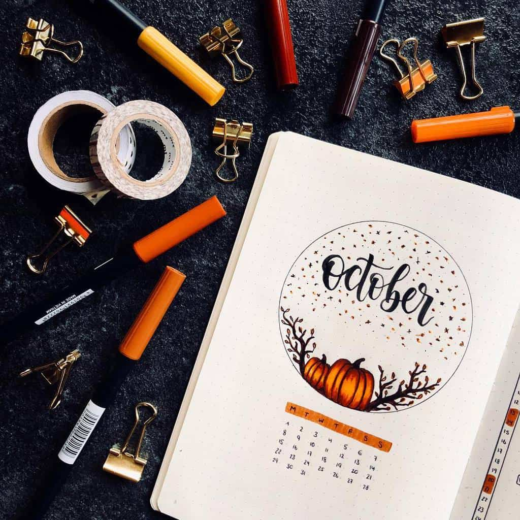 Fall Bullet Journal Theme Inspirations - cover page by @january._journal | Masha Plans