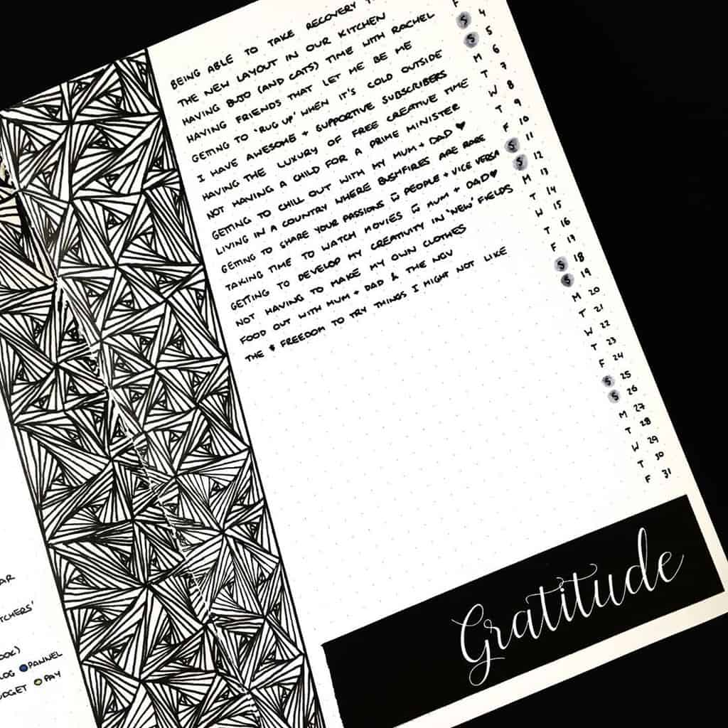 Bullet Journal Gratitude Log by @jashiicorrin | Masha Plans