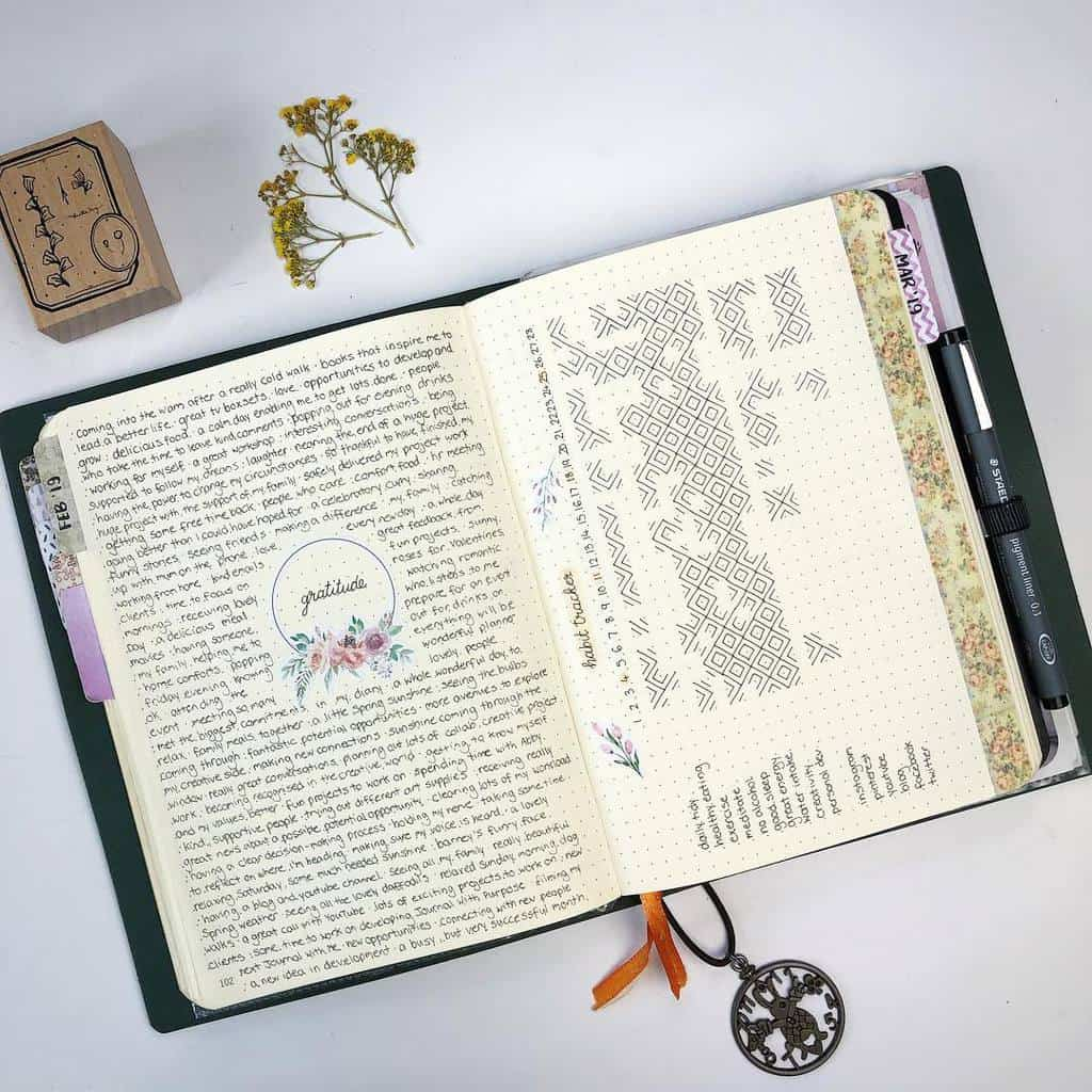 Bullet Journal Gratitude Log by @journalwithpurpose | Masha Plans