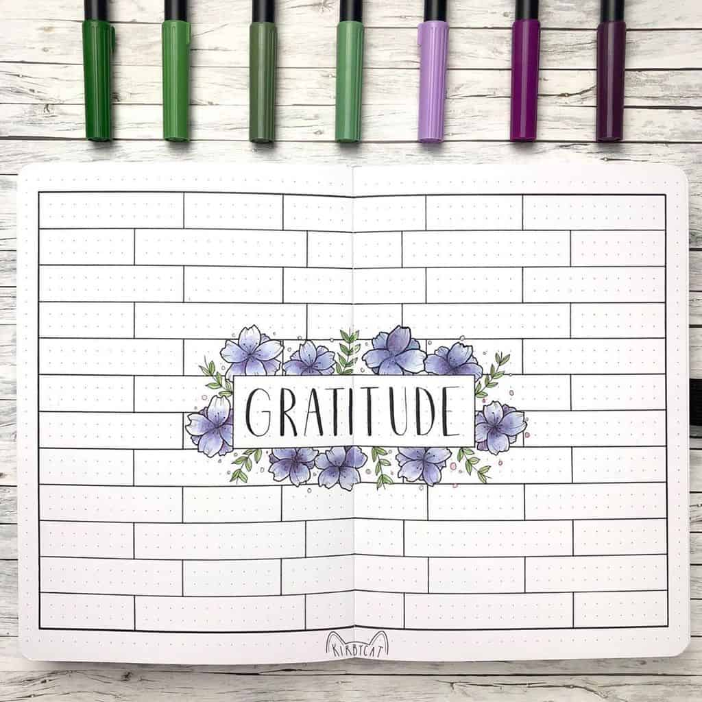 Bullet Journal Gratitude Log by @kirbycat.bujo | Masha Plans