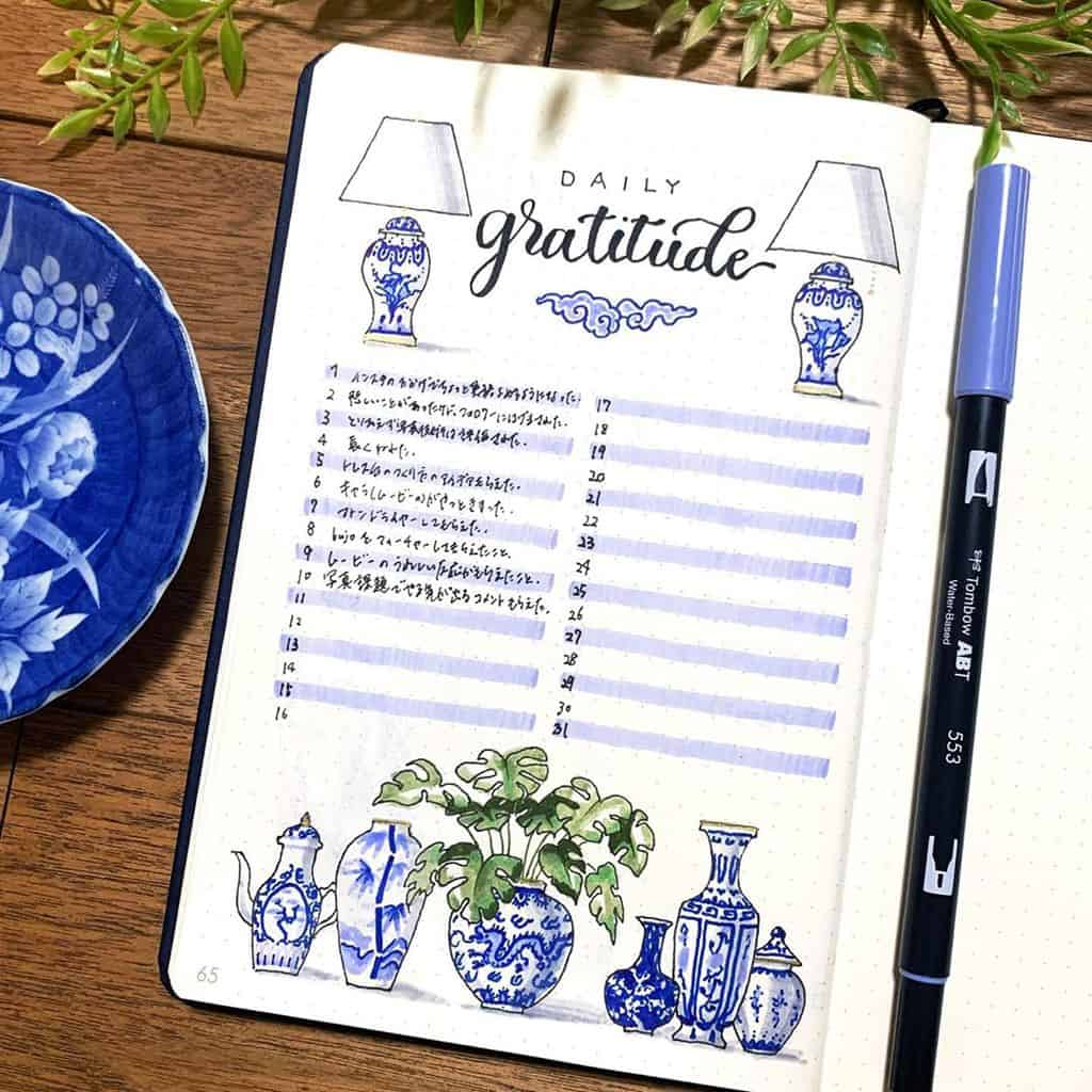 Bullet Journal Gratitude Log by @kotose.journal | Masha Plans